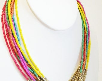 Multi Colored and Gold Necklace / Multi Strand, Beaded Bib Necklace.