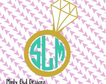 Diamond Ring Monogram Frame SVG - Diamond Ring Cut File - Monogram Frame - Bride To Be - Wedding - Cricut - Silhouette - Instant Download