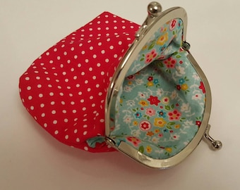 Red polka dot coin purse, handmade, floral lining
