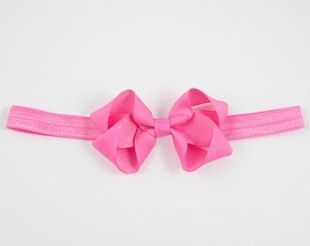 Hot Pink Bow Headband, Pink Newborn Headband, Pink Headband, Pink Baby Bow, Pink Baby Headband, Pink Elastic Headband (Item #10401)
