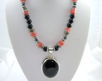 Set of Rhodochrosite and Black Onyx Necklace, Bracelet, and Earrings