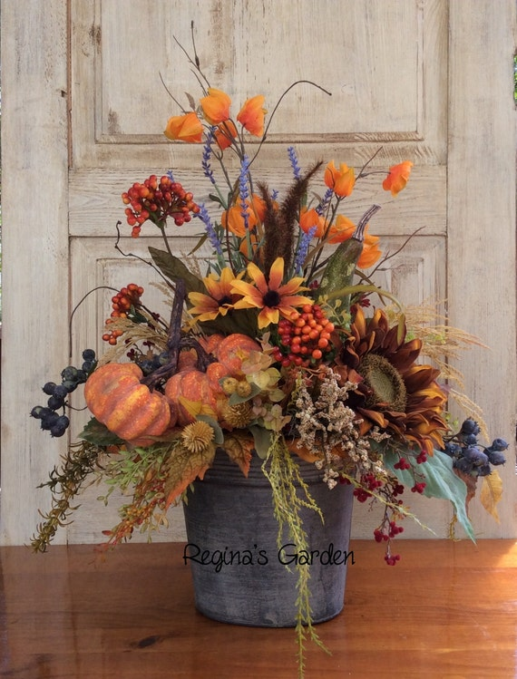 Fall Floral Arrangement Fall Decor Silk Arrangement Fall