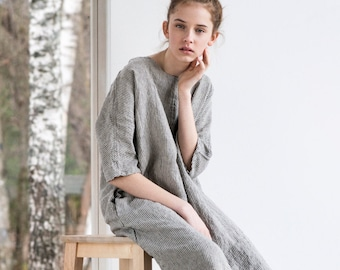 Washed linen KIMONO tunic in stripes / Oversize washed linen dress