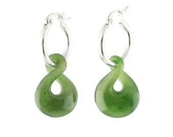 Canadian Nephrite Jade Earrings, 1784