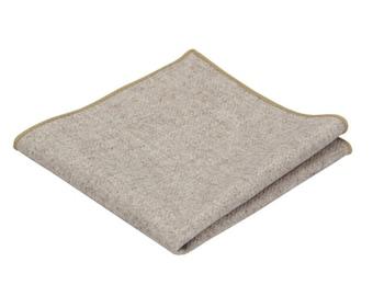 Beige Wool Pocket Square.Beige Wool Handkerchief.Neutral Beige Wedding.Gifts