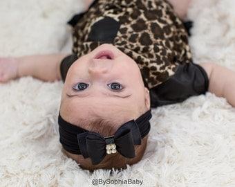 Baby headband, Black Baby Headband, Black Bow Headband, Newborn Headband, Photography Prop, Black Baby Headband, Rhinestone Headband, 715