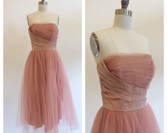 Vintage 1950's Strapless Blush Pink Tulle Party Dress with asymmetrical bodice