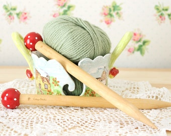 Extra Large Hand Painted Red Dotty Birch Wood Knitting Needles Size US 19, 16mm
