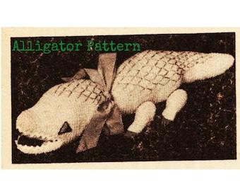 Crochet TOY Pattern Vintage 70s Crochet Alligator Pattern Crochet Stuffed Animal Crochet Baby Toy Pattern Crochet Safari Zoo