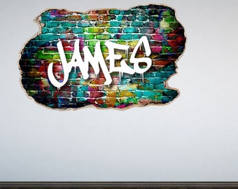 Personalized Graffiti Wall Decal Smahed Wall 3D Effect Personalised Sticker Mural Wall Graphic