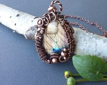 Labradorite copper pendant Copper and gem Metal and labradorite Labradorite necklace Heady pendant Wire design Gift for mother For her