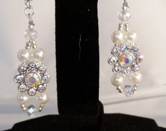Pearl, Crystal and Rhinestone Earrings