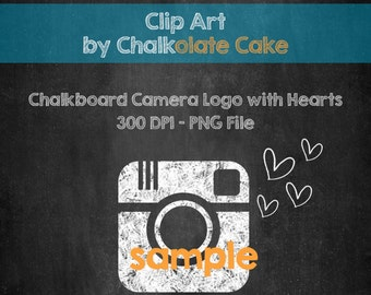 CHALKBOARD CAMERA Clip Art, Social Media Button, Instant Download PNG