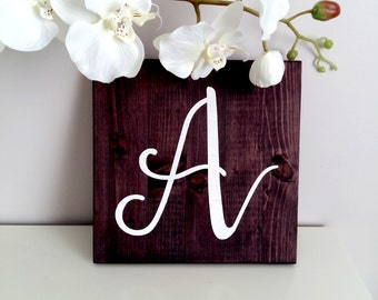 """Rustic Capital Letter Sign, Initial Wood Sign, Wedding Gift, Last Name Inital Sign, Nursery Decor,  9""""x 9"""""""