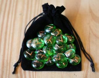 Green Glass Elder Futhark Earth Runes, 25 Piece Set