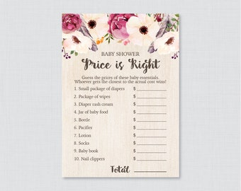 Boho Baby Shower Price is Right Game - Printable Baby Shower Game Instant Download - Rustic Bohemian Price is Right Game Feathers - 0043