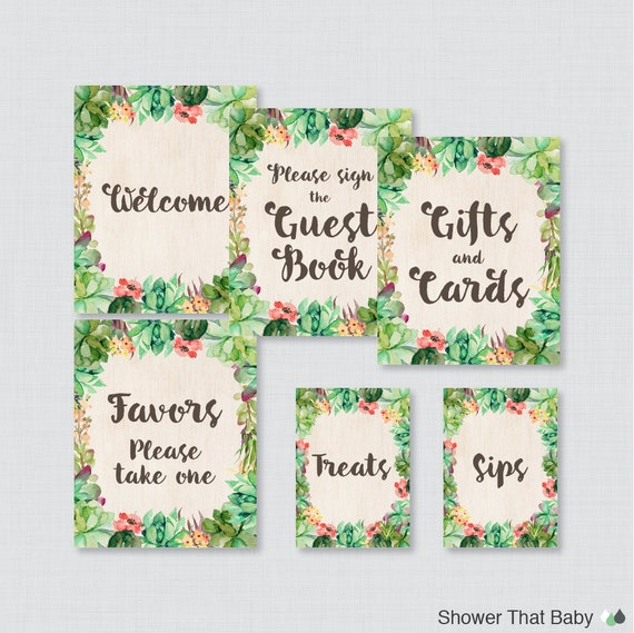 printable succulent baby shower table signs six signs