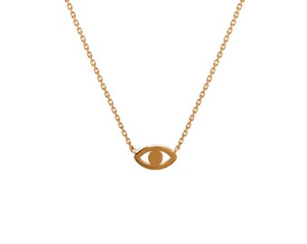 14k gold mini evil eye necklace, gold evil eye necklace