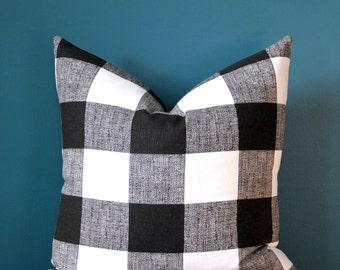 Buffalo Check Pillow Cover - Black and White Pillow Cover - Monochrome Nursery - Trendy Pillow Cover - Rustic Pillow Cover - Cabin Decor