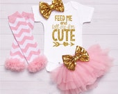 Baby Onesie Outfit Gold baby headband bow, baby bodysuit, baby girl toddler, baby tutu, baby shower, baby gift, onesie personalized -Feed Me