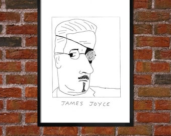 Badly Drawn James Joyce - Literary Poster - *** BUY 4, GET A 5th FREE***