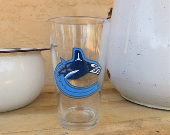 Hand Painted Vancouver Canucks Pint Glass