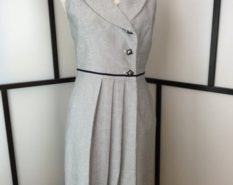 Black and White Dress, Vintage 80s Wrap Dress, Sleeveless Work Dress, Size Small