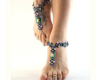 Bohemian Elephant Barefoot Sandals Hemp Foot Accessory Ankle Jewelry Anklet Blue Red Beaded Macrame Footwear Gypsy, Hippie, Boho, Yoga Beach
