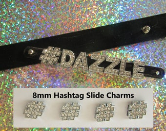 Hashtag Rhinestone Slide Charms, Silver Hashtags Slide Charms, DIY Jewelry, Personalized Bracelet, hashtag, slider charms