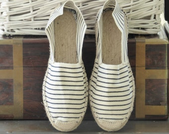 Flat espadrilles - NAVY STRIPES - mumishoes - made in spain