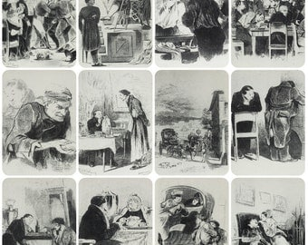 "Artist Agin. Set of 12 Vintage Soviet Postcards ""Dead Souls"" N. Gogol - 1970. Izobrazitelnoe iskusstvo. People, Men, Women, Ball"