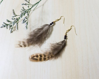 Made in Japan ~ Vintage-style Brown Feather Earrings with Wooden Beads + FREE shipping