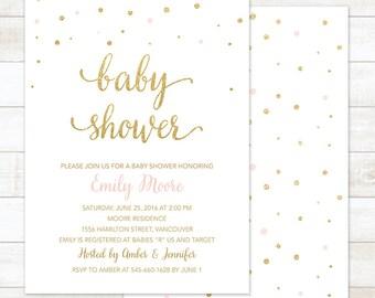 baby shower invitation, pink gold baby girl shower invitation, pink gold confetti baby shower invitation, printable shower digital invite
