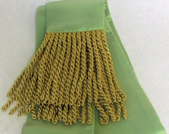 Celery Green Iridescent Taffeta Sash w/Gold Fringe for Pirate, Ren Faire, Cosplay