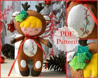 PDF Felt Pattern: Little Reindeer Kid, Felt Pattern, Doll Pattern. Plush Pattern. Christmas