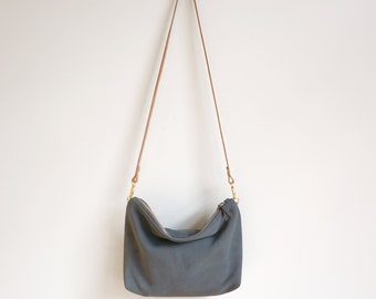 Gray Mini Suede Hobo