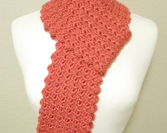 Crochet Textured Scarf with Scalloped Edge
