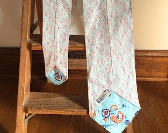 Flannel Scarf Tie -  Dotted Art Deco Scallop & Monkey Super Soft custom, Winter fashion neck scarf