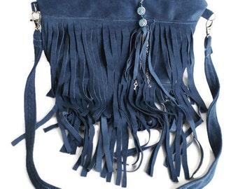 Blue Suede Fringe Purse, Slate Blue Leather Bag, Boho Trend, Travel Sack, Suede Cross Body Bag, Fringe Leather Bag, Hippie Bag, Possible Bag