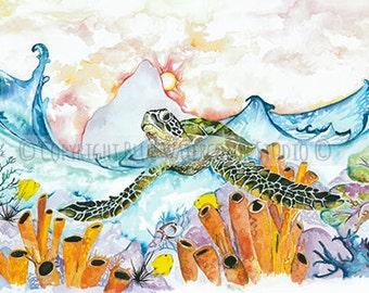 sea turtle, watercolor print, coral reef, ocean life, sunshine,waves, beach art, scuba diving,
