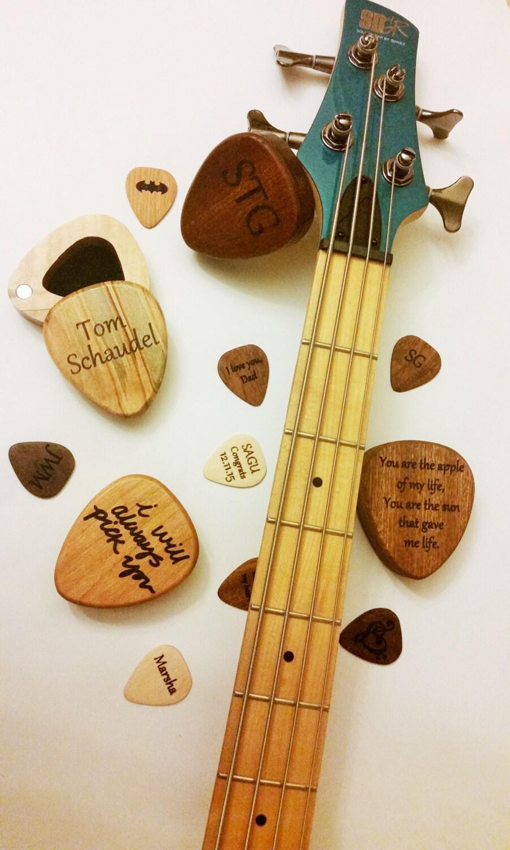 personalized wood guitar pick box and pick laser engraved. Black Bedroom Furniture Sets. Home Design Ideas