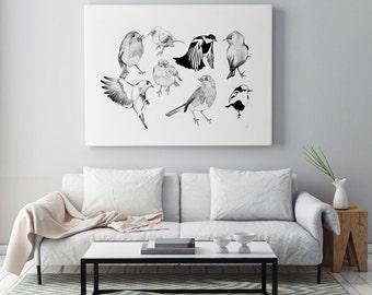 Birds *Nature graphic handmade ink illustration artprint*