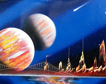 SPACE PAINTING - Spray Paint Art - (14 in x 22 in)