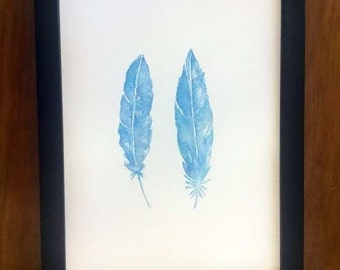 Watercolour Painting of Two Turquoise Feathers. Painting of Turquoise Feathers. Painting of Blue Feathers. Feather Painting. Feather Art