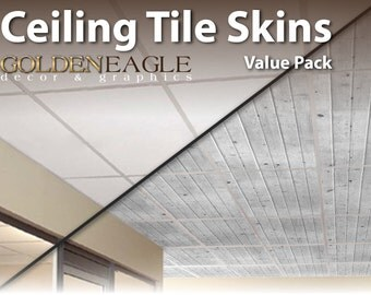 """Lot of 6 Ceiling Tile Skin Glue up White Washed Knotty Pine Wood Decorative Panel Cover 24"""" x 48"""""""
