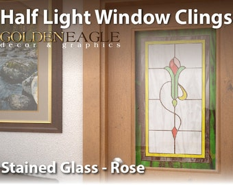 Reusable Semi Privacy Stained Glass Static Window Film Cling Cover Floral Rose