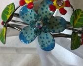 Colorful Metal Flower Cuff Bracelet/Multi-Color Flower Cuff/Metal Flower Cuff