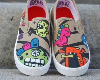 MONSTER Boys or Girls custom hand painted shoes
