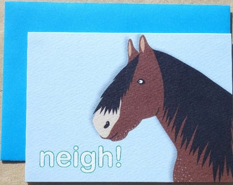Horse card, farm animal thank you notecards, cute pony lover card, pack of horse greeting cards, equine notecards, thank you cards for kids