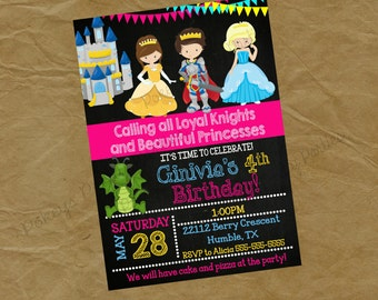 PRINCESS and Brave Knight and Birthday Party Invitation - Digital or Printed dragon girls